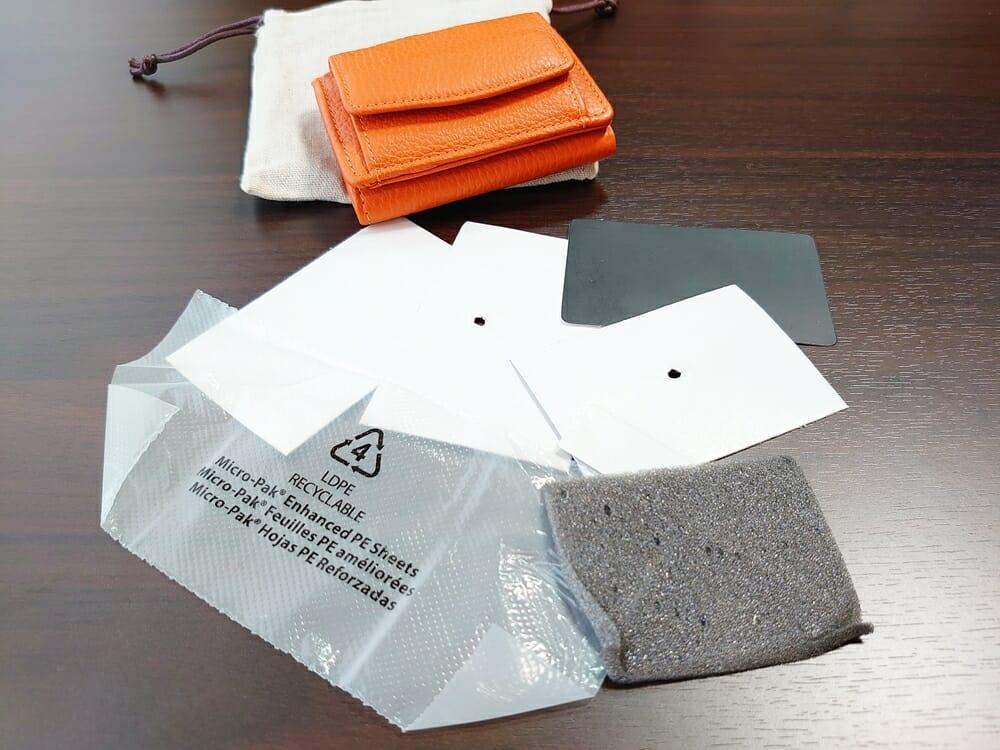 三つ折り財布 ST-909 イタリア製シュリンクレザー スキミング防止機能付 ミニ財布(オレンジ)MURA(ムラ)革の保護紙 フィルム2