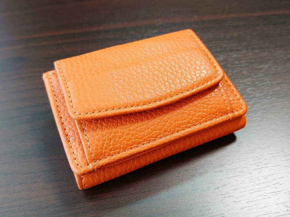 三つ折り財布 ST-909 イタリア製シュリンクレザー スキミング防止機能付 ミニ財布(オレンジ)MURA(ムラ)財布デザイン