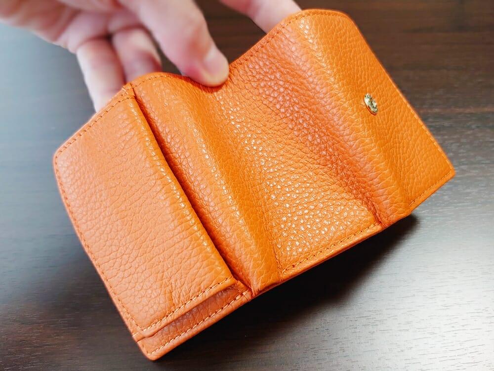三つ折り財布 ST-909 イタリア製シュリンクレザー スキミング防止機能付 ミニ財布(オレンジ)MURA(ムラ)見開き3