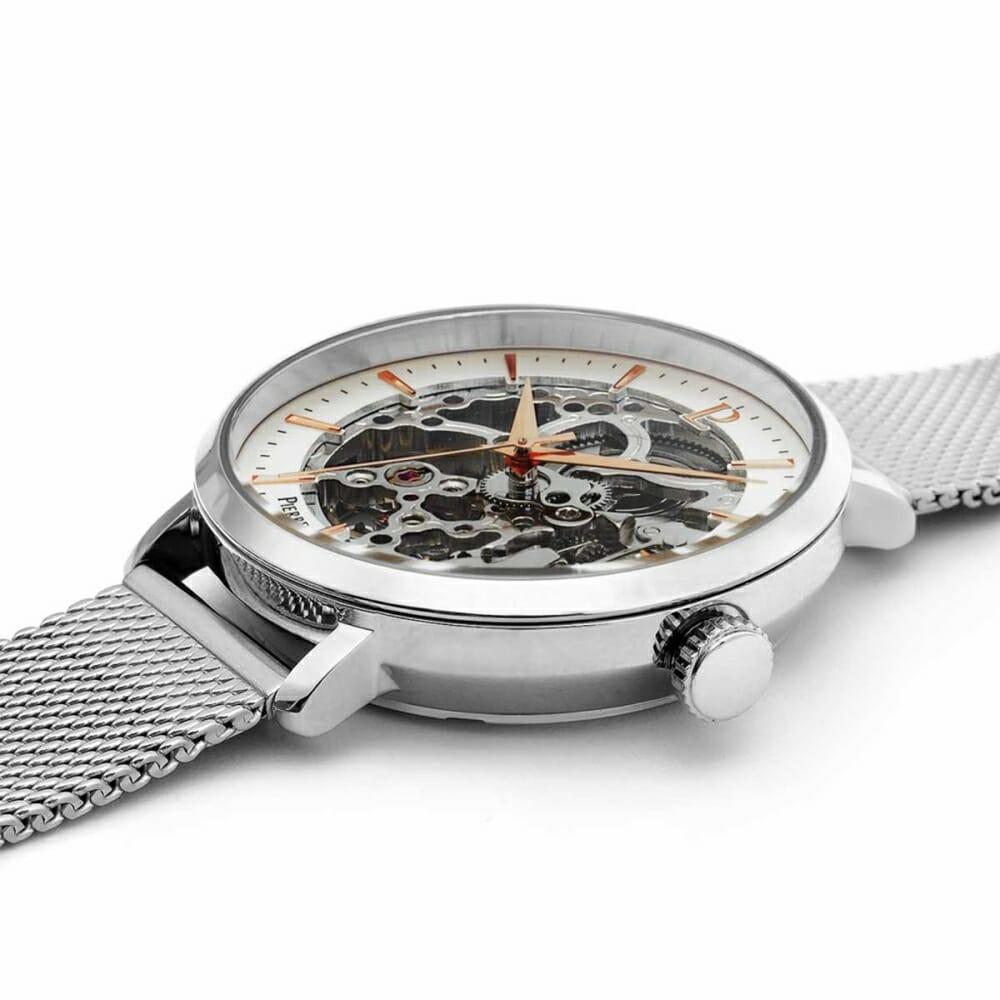 オートマティック 機械式腕時計 レディース メッシュベルト シースルー ダイアルデザイン シルバー Pierre Lannier ピエールラニエ
