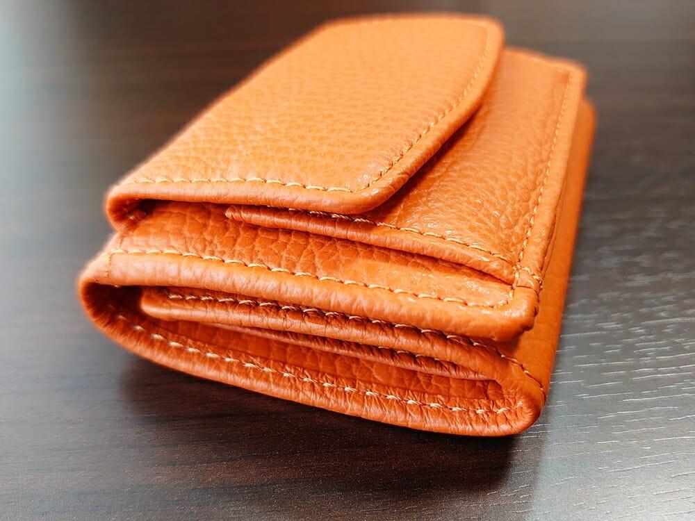 三つ折り財布 ST-909 イタリア製シュリンクレザー スキミング防止機能付 ミニ財布(オレンジ)MURA(ムラ)財布デザイン4