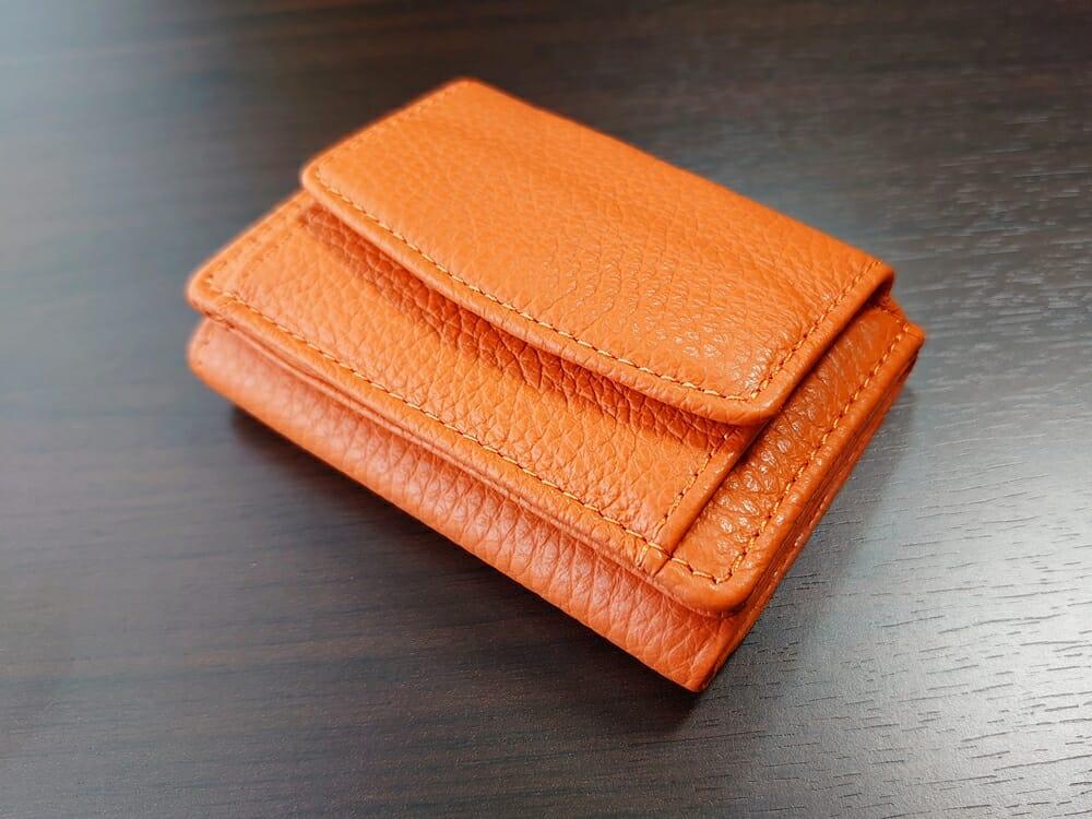 三つ折り財布 ST-909 イタリア製シュリンクレザー スキミング防止機能付 ミニ財布(オレンジ)MURA(ムラ)ボックス型小銭入れ3