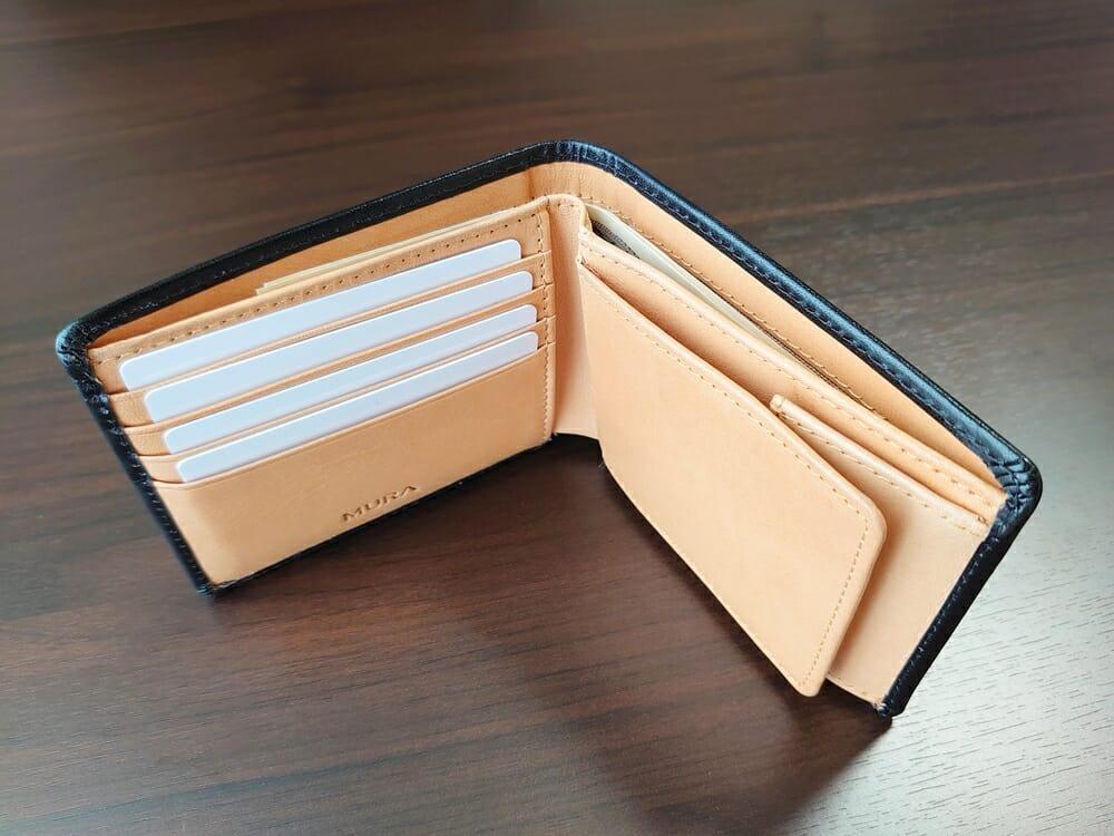 二つ折り財布 st-819 イタリアンレザー(フルグレイン)スキミング防止機能付 MURA(ムラ)お金とカードを入れた状態
