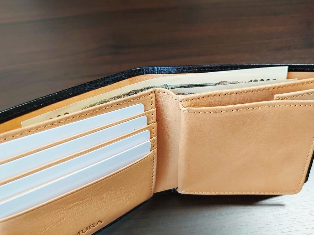 二つ折り財布 st-819 イタリアンレザー(フルグレイン)スキミング防止機能付 MURA(ムラ)札入れ 札のはみ出し