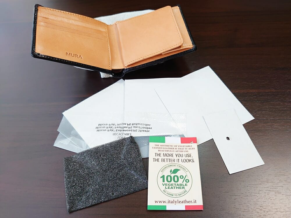 二つ折り財布 st-819 MURA(ムラ)革の保護紙 フィルム 2
