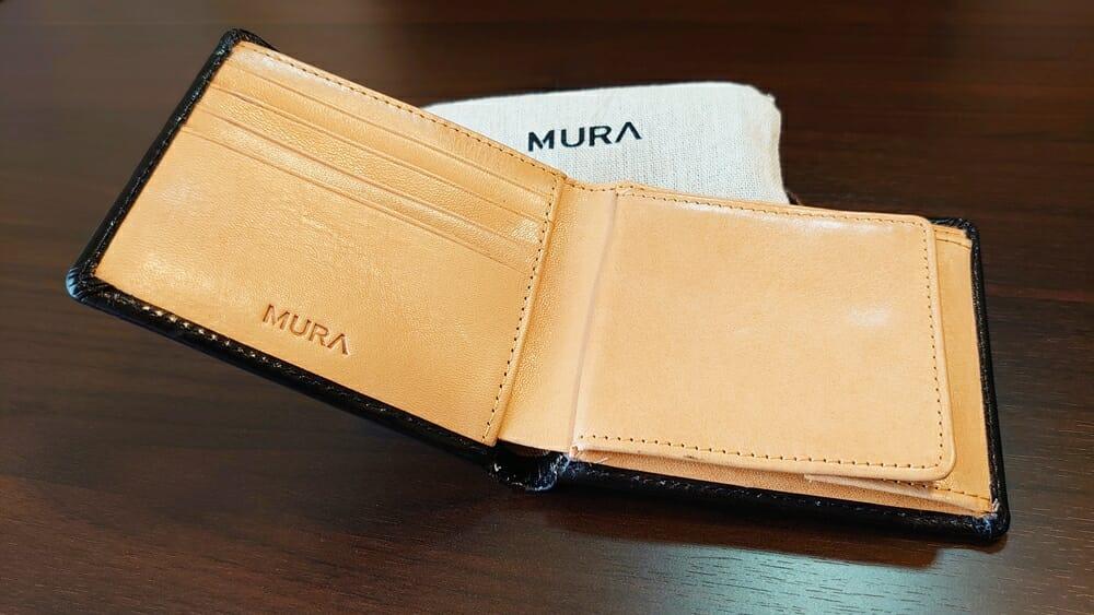 二つ折り財布 st-819 イタリアンレザー(フルグレイン)スキミング防止機能付 MURA(ムラ)財布レビュー ベジタブルタンニンレザー