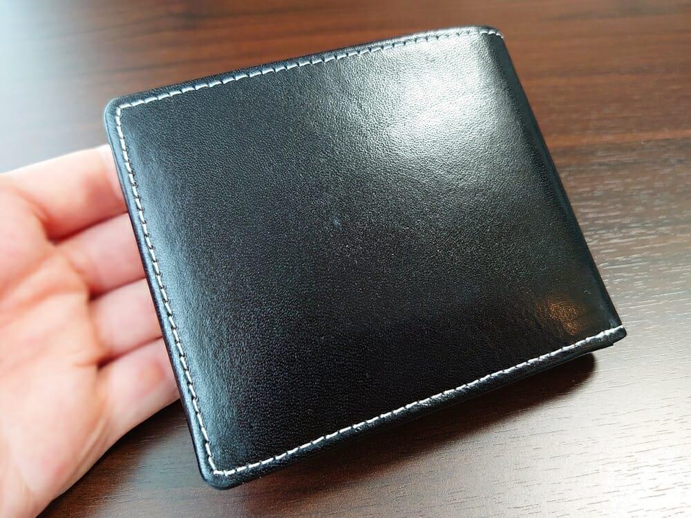 二つ折り財布 st-819 イタリアンレザー(フルグレイン)スキミング防止機能付 MURA(ムラ)レザーの質感2