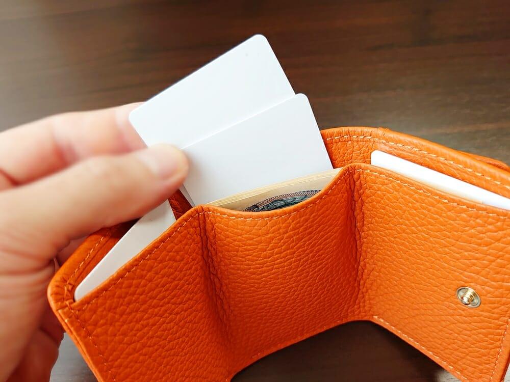 三つ折り財布 ST-909 イタリア製シュリンクレザー スキミング防止機能付 ミニ財布(オレンジ)MURA(ムラ)カードポケットの使い心地