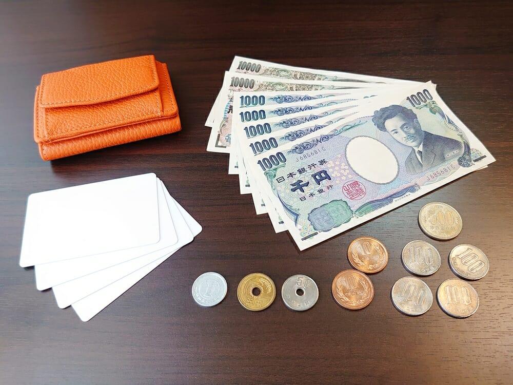 三つ折り財布 ST-909 イタリア製シュリンクレザー スキミング防止機能付 ミニ財布(オレンジ)MURA(ムラ)お金とカードを収納