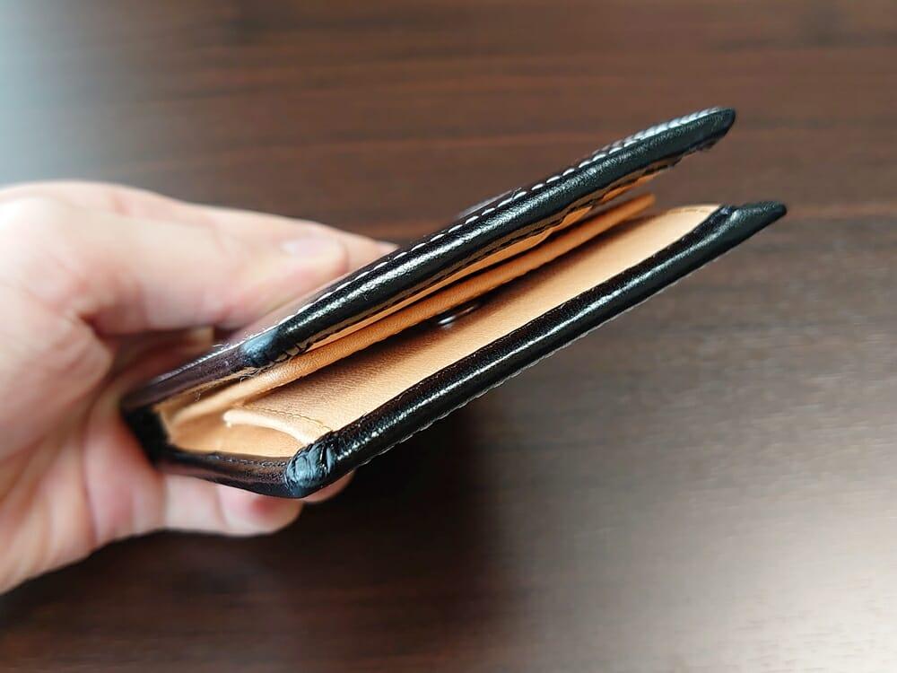 二つ折り財布 st-819 イタリアンレザー(フルグレイン)スキミング防止機能付 MURA(ムラ)財布側面 厚さ2
