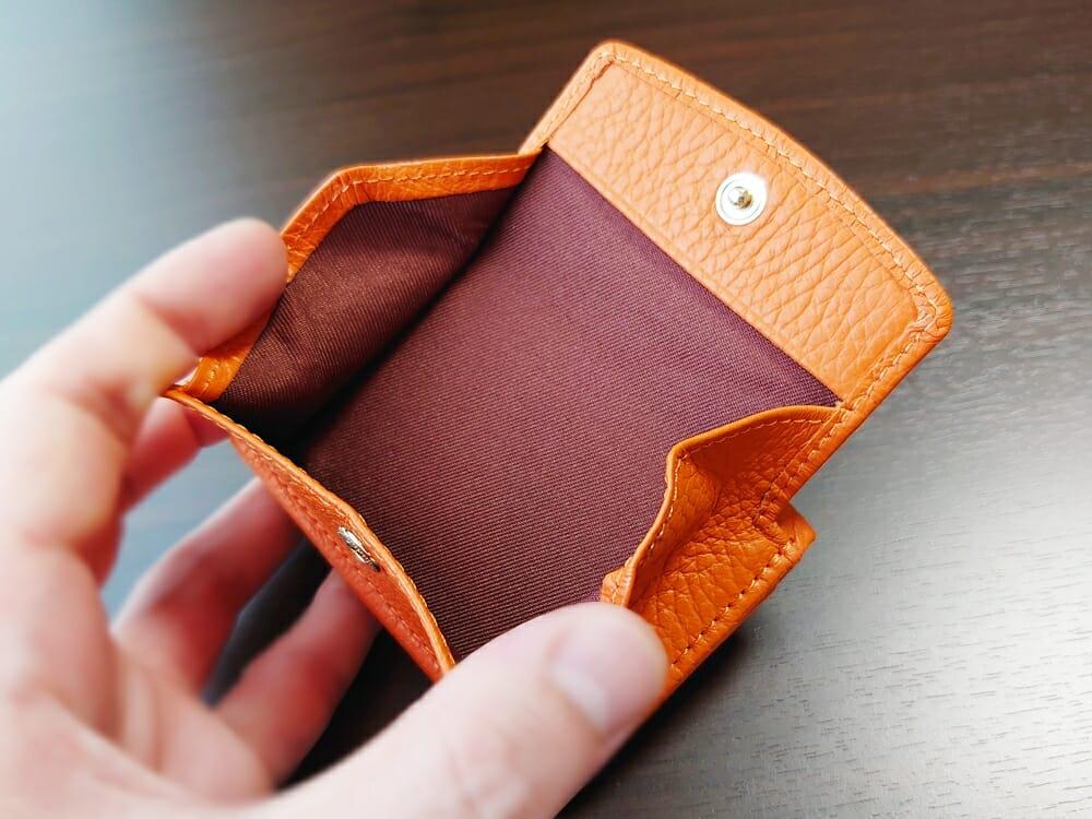 三つ折り財布 ST-909 イタリア製シュリンクレザー スキミング防止機能付 ミニ財布(オレンジ)MURA(ムラ)ボックス型小銭入れ 大きさ2