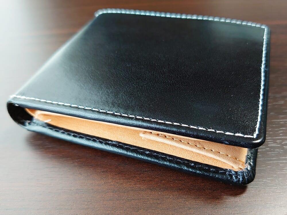 二つ折り財布 st-819 イタリアンレザー(フルグレイン)スキミング防止機能付 MURA(ムラ)ステッチ 仕上がり1
