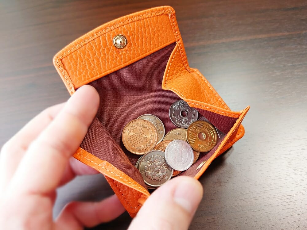 三つ折り財布 ST-909 イタリア製シュリンクレザー スキミング防止機能付 ミニ財布(オレンジ)MURA(ムラ)小銭入れの使い心地