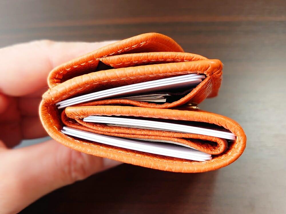 三つ折り財布 ST-909 イタリア製シュリンクレザー スキミング防止機能付 ミニ財布(オレンジ)MURA(ムラ)カード9枚 財布の厚み