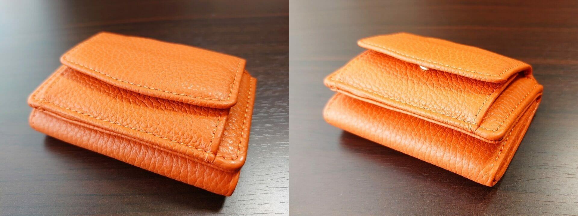 三つ折り財布 ST-909 イタリア製シュリンクレザー スキミング防止機能付 ミニ財布(オレンジ)MURA(ムラ)財布の厚み 空の状態と比較