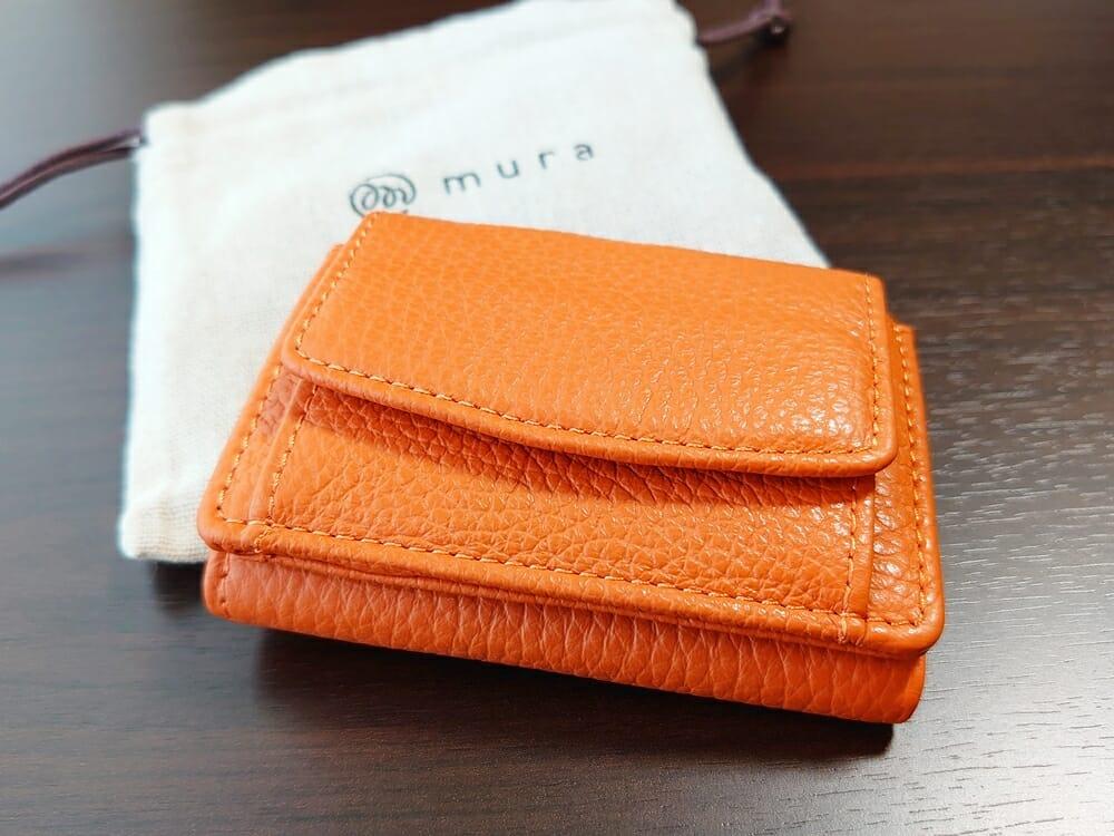 三つ折り財布 ST-909 イタリア製シュリンクレザー スキミング防止機能付 ミニ財布(オレンジ)MURA(ムラ)パッケージング