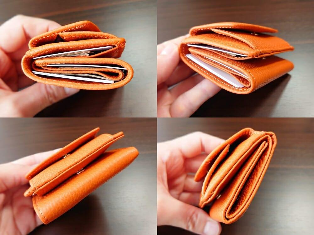 三つ折り財布 ST-909 イタリア製シュリンクレザー スキミング防止機能付 ミニ財布(オレンジ)MURA(ムラ)財布の中身がある状態の厚み 財布全体