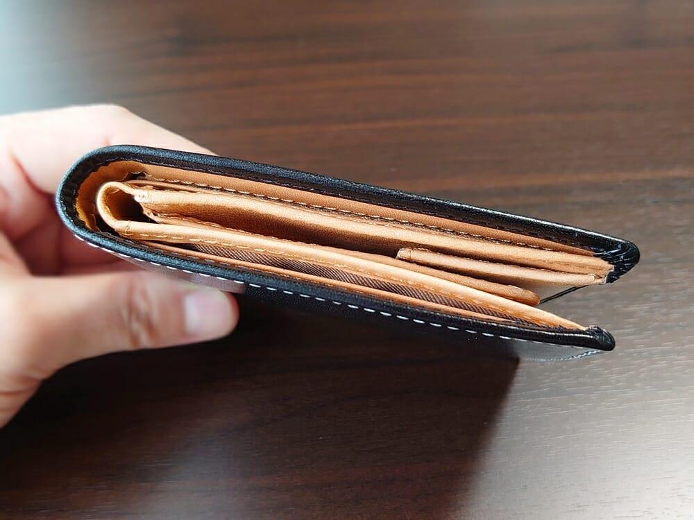 二つ折り財布 st-819 イタリアンレザー(フルグレイン)スキミング防止機能付 MURA(ムラ)財布側面 厚さ1