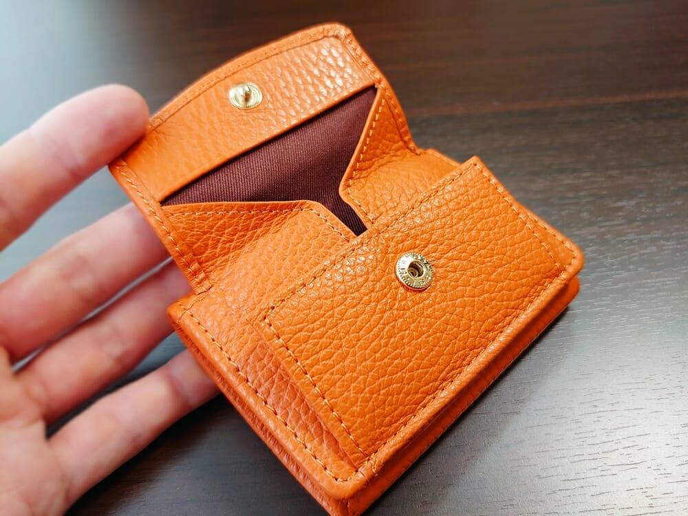 三つ折り財布 ST-909 イタリア製シュリンクレザー スキミング防止機能付 ミニ財布(オレンジ)MURA(ムラ)ボックス型小銭入れ2