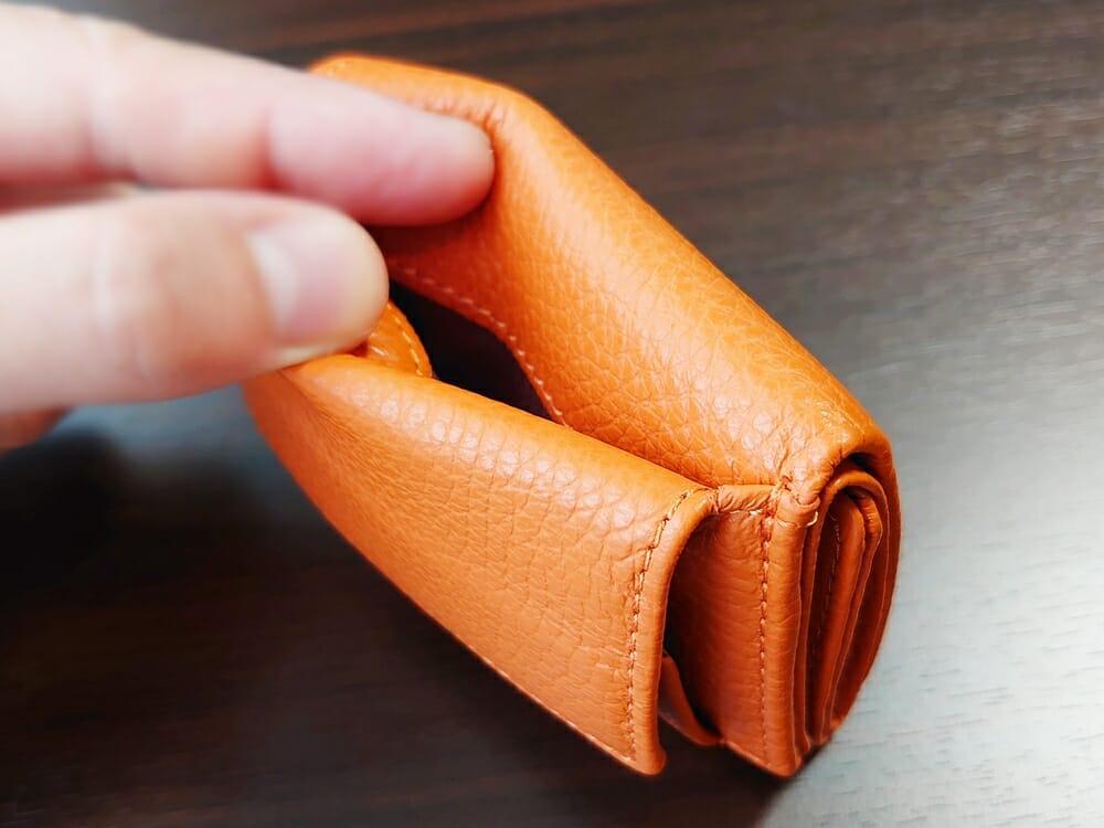 三つ折り財布 ST-909 イタリア製シュリンクレザー スキミング防止機能付 ミニ財布(オレンジ)MURA(ムラ)アウトポケット