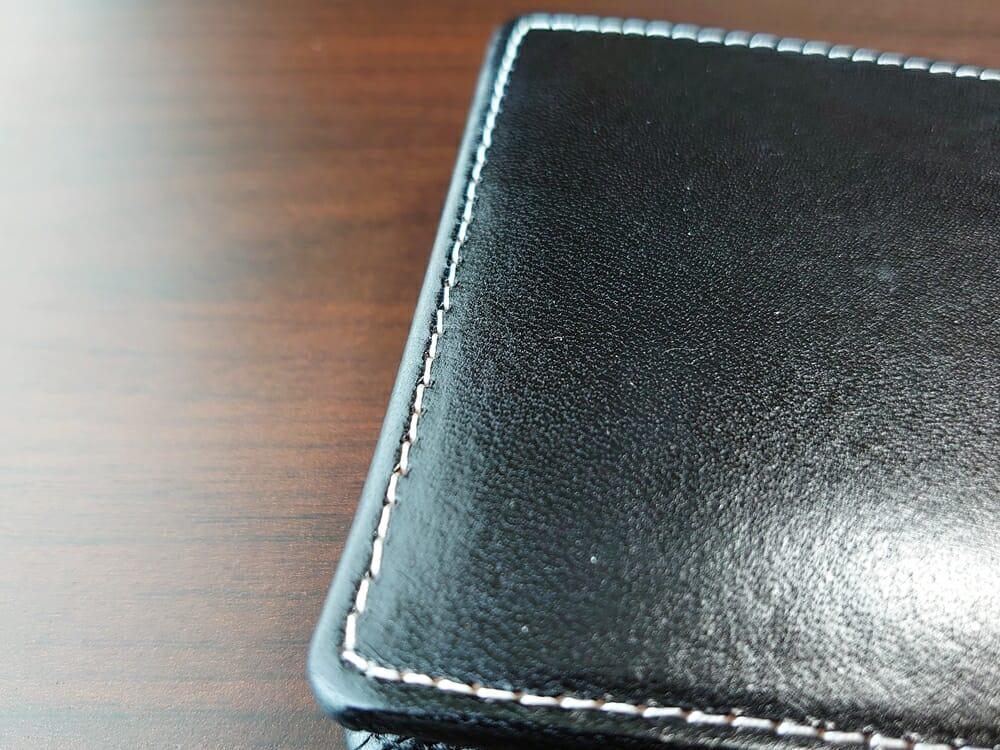 二つ折り財布 st-819 イタリアンレザー(フルグレイン)スキミング防止機能付 MURA(ムラ)ステッチ 仕上がり2
