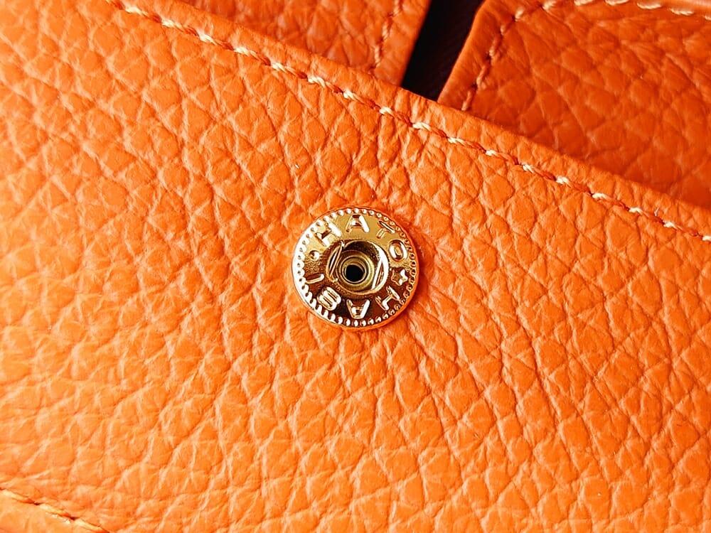 三つ折り財布 ST-909 イタリア製シュリンクレザー スキミング防止機能付 ミニ財布(オレンジ)MURA(ムラ)ボックス型小銭入れ スナップボタン