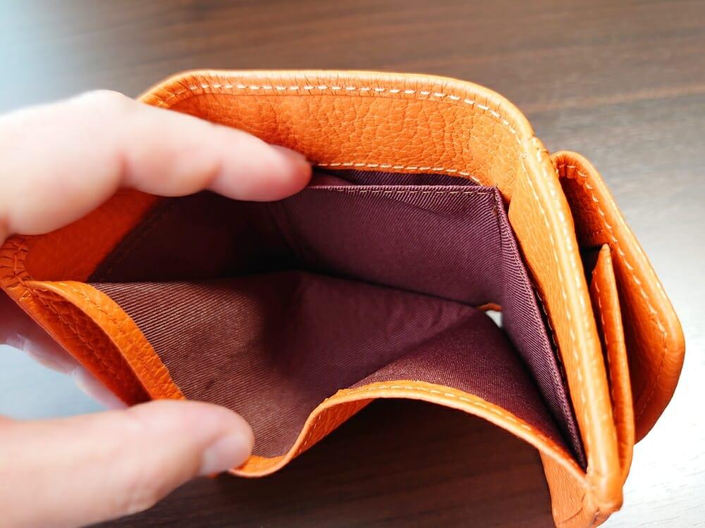 三つ折り財布 ST-909 イタリア製シュリンクレザー スキミング防止機能付 ミニ財布(オレンジ)MURA(ムラ)カードポケット
