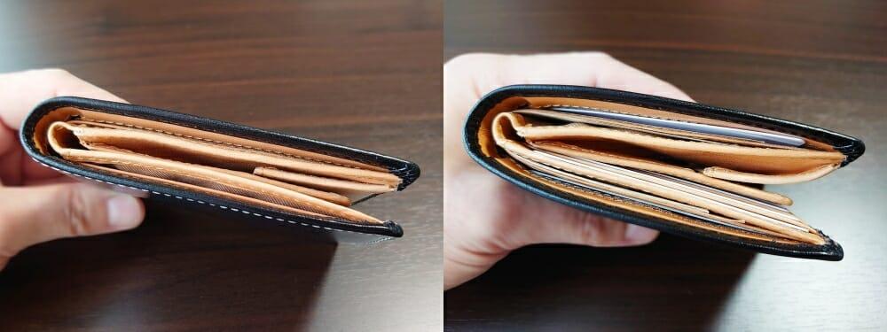 二つ折り財布 st-819 イタリアンレザー(フルグレイン)スキミング防止機能付 MURA(ムラ)財布の厚さ 比較