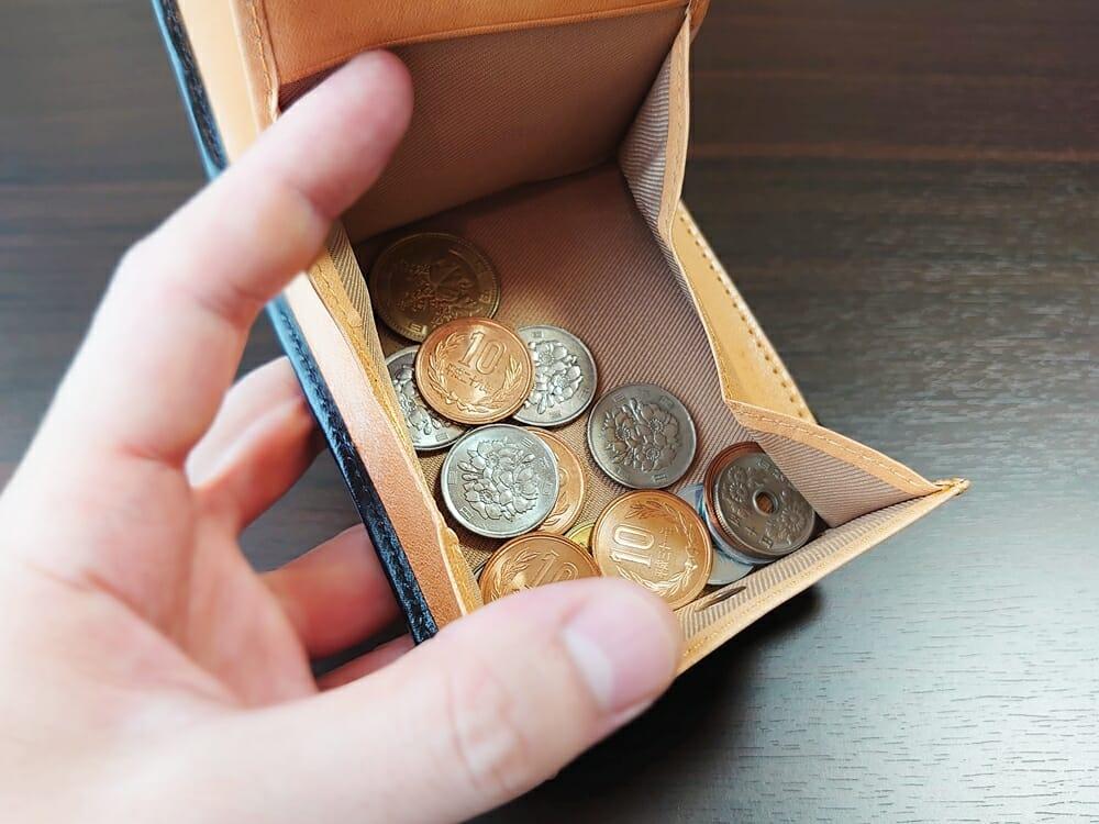 二つ折り財布 st-819 イタリアンレザー(フルグレイン)スキミング防止機能付 MURA(ムラ)小銭入れ 大容量収納量が可能