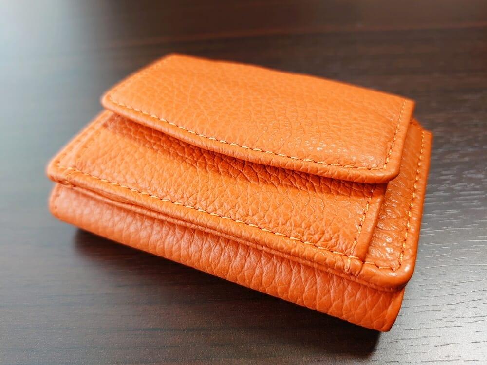 三つ折り財布 ST-909 イタリア製シュリンクレザー スキミング防止機能付 ミニ財布(オレンジ)MURA(ムラ)財布デザイン3
