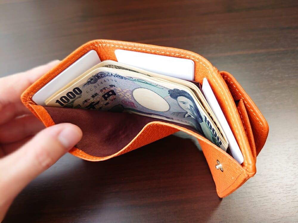三つ折り財布 ST-909 イタリア製シュリンクレザー スキミング防止機能付 ミニ財布(オレンジ)MURA(ムラ)札入れの使い心地1