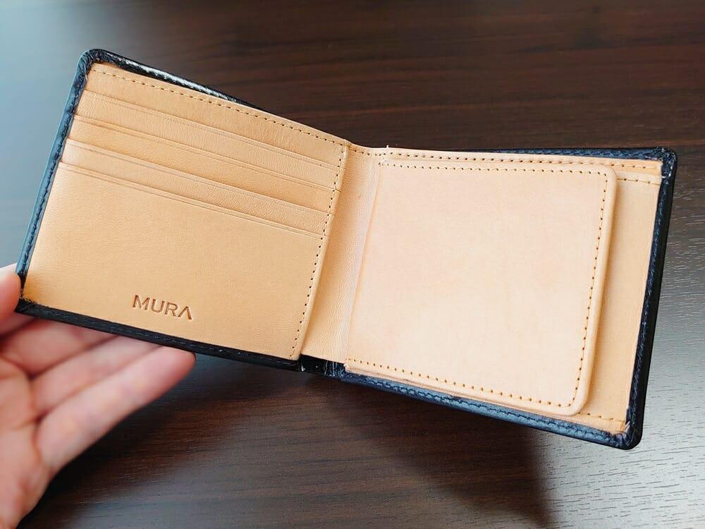 二つ折り財布 st-819 イタリアンレザー(フルグレイン)スキミング防止機能付 MURA(ムラ)内装デザイン ベジタブルタンニンレザー