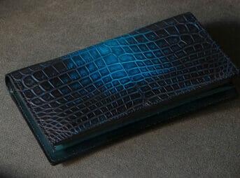クロコダイル財布 メンズ向け ナイルクロコダイル 手染め長財布(小銭入れ付き)KAWAGEININ(革芸人)