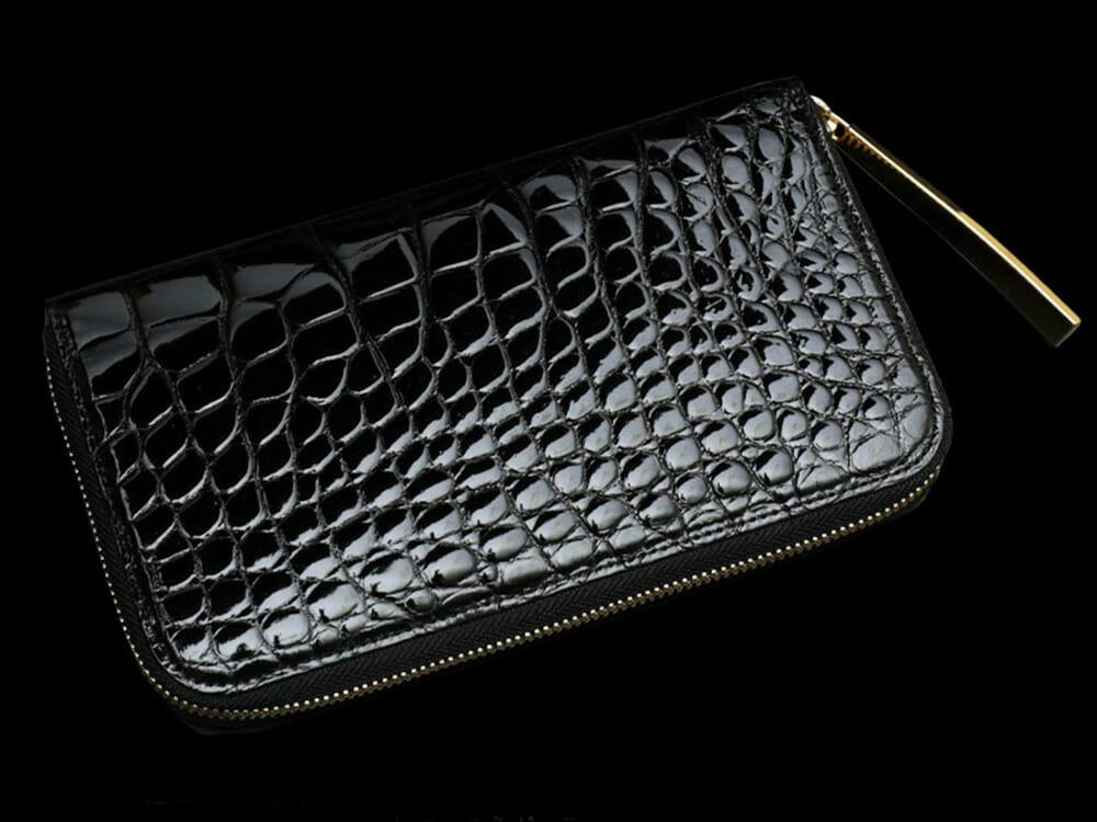 ラウンドファスナー長財布 Crocodile Long Wallet W(クロコダイル ロングウォレット)内装ダブルゴールドパイソン ブラック 池田工芸