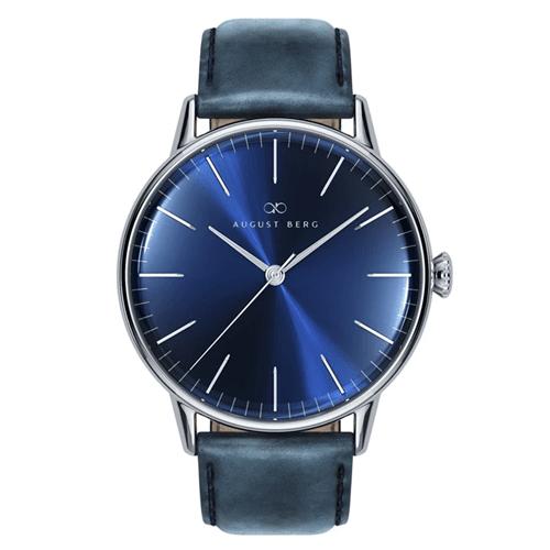 Serenity Deep Blue ディープブルー Silver シルバー Classic Deep Blue ディープブルー Leather レザー 10240E05LBL 40mm August Berg(オーガスト・バーグ)