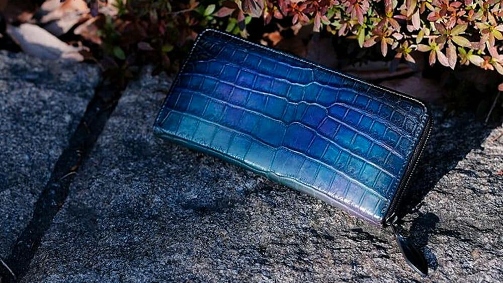YFA114N クロコダイルラウンドファスナーウォレット 二藍 yuhaku ユハク