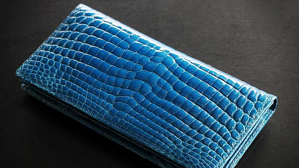 クロコダイル 二つ折り メンズ 長財布 ヘンローン社製原皮 無双 シャイニング加工 一枚革 ブルー 三京商会 SANKYO SHOKAI