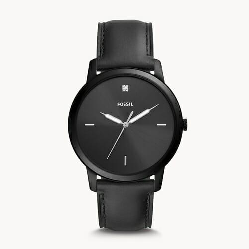 THE MINIMALIST カーボンシリーズ 三針 ブラックレザーウォッチ FS5478 FOSSIL フォッシル メンズ腕時計