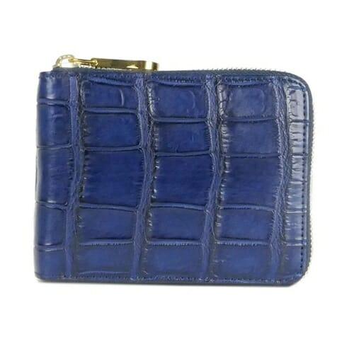 藍染めクロコ ラウンドファスナー二つ折財布 CIMABUE(チマブエ)