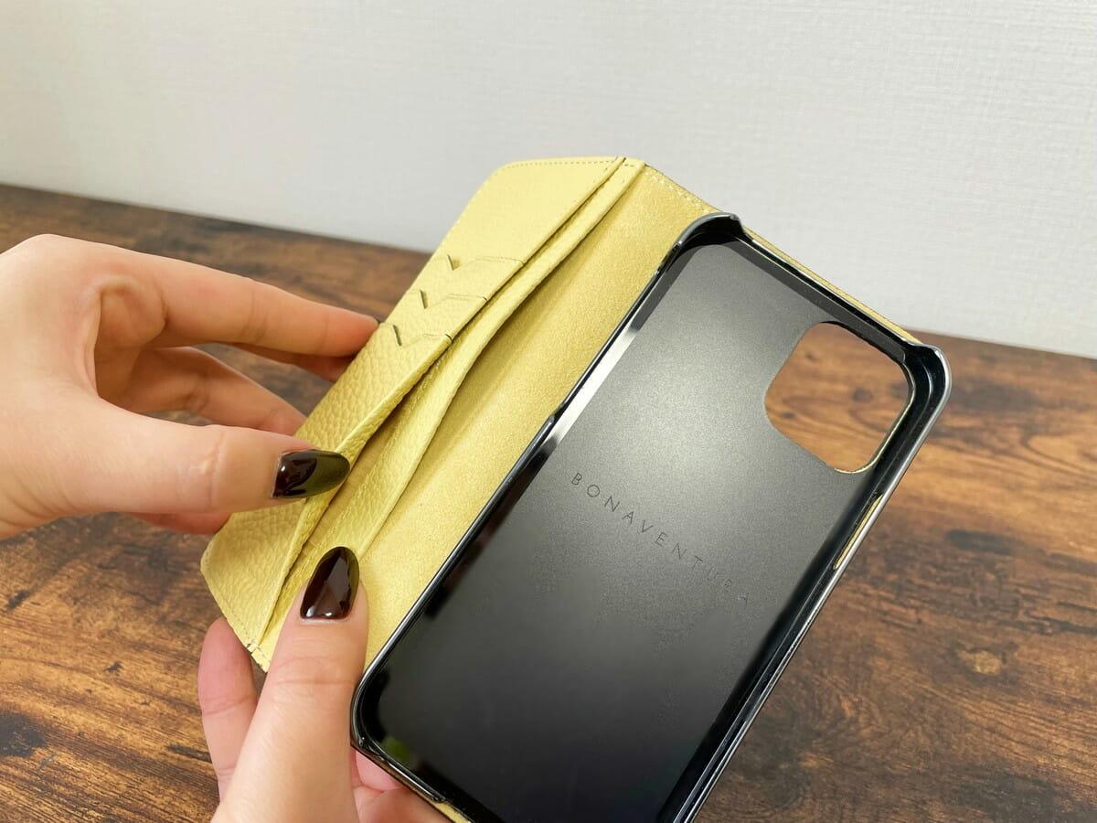 ボナベンチュラiPhoneケース 内側のフリーポケット