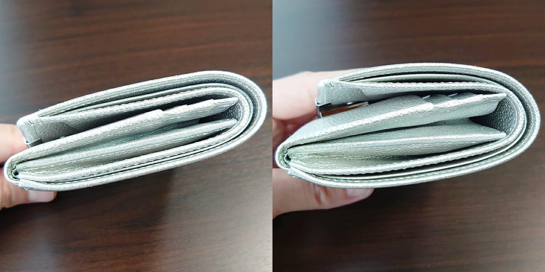 山藤 YAMATOU マルチパーパス サファイアシュリンク SS210500 シーシェルピンク レディース財布 お金とカードを入れた財布の厚み 比較