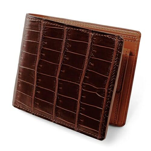 SMALL CROCO (スモールクロコ)小銭入れ付き二つ折り財布 ダークブラウン GANZO(ガンゾ)