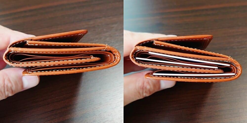 山藤 YAMATOU ミニミニウォレット Tito Alonso ティートアロンソ TA310300 ブラウン メンズ財布 お金とカードを入れた財布の厚み 比較