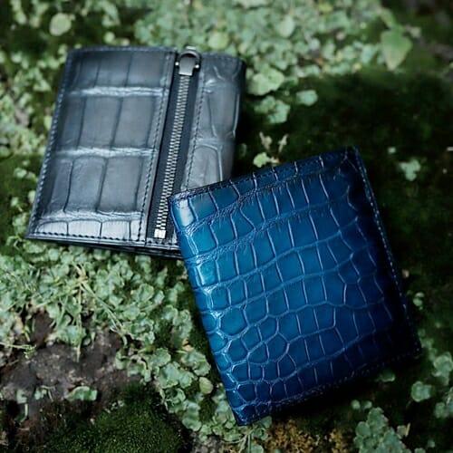 YFA122 クロコダイル 薄型二つ折り財布 yuhaku(ユハク)