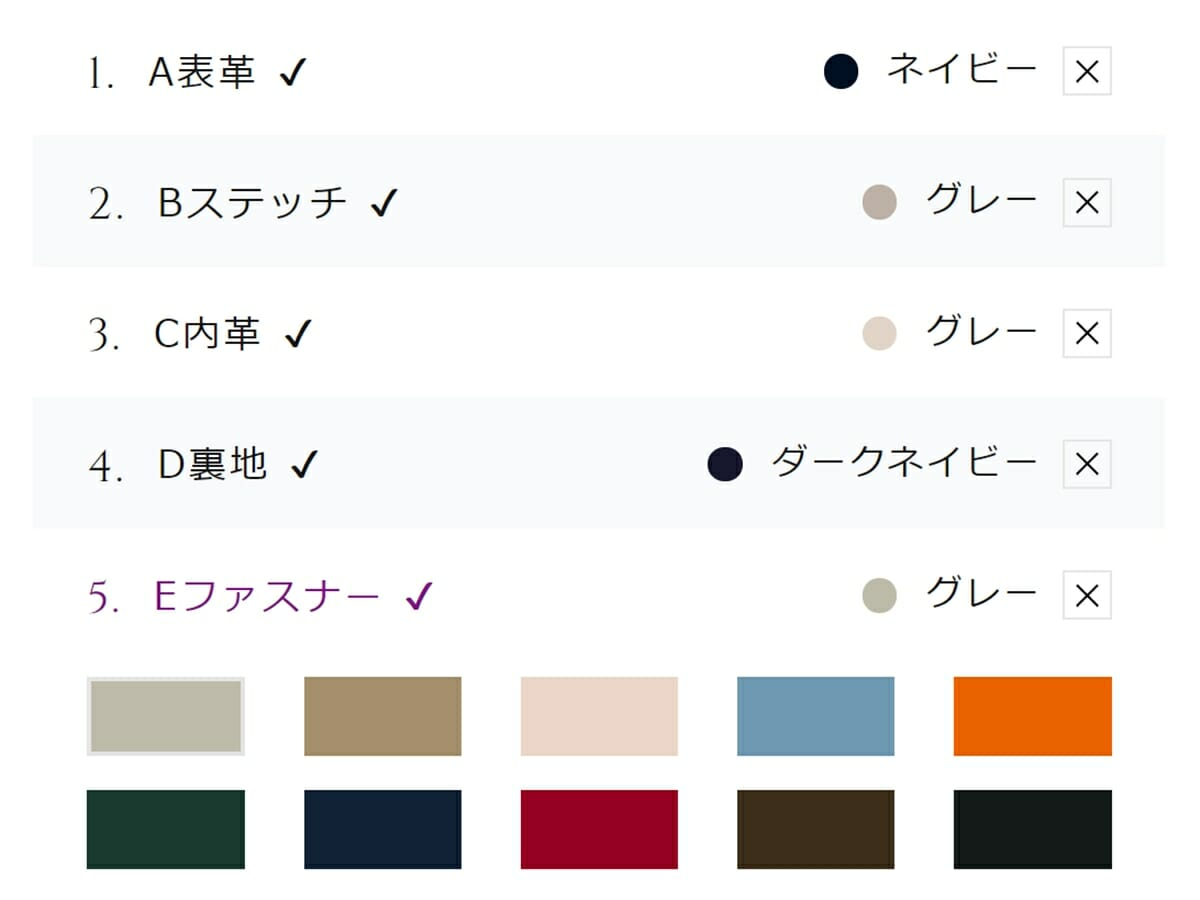 キプリス カスタムオーダー内容 ラウンドファスナーハニーセル長財布 パーツ各部のカラーチップ
