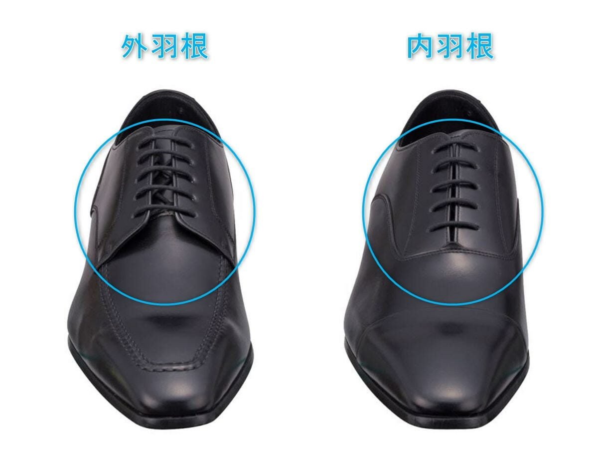 革靴 外羽根と内羽根の比較