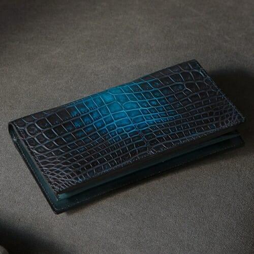 ナイルクロコダイル 手染め長財布(小銭入れ付き)KAWAGEININ(革芸人)