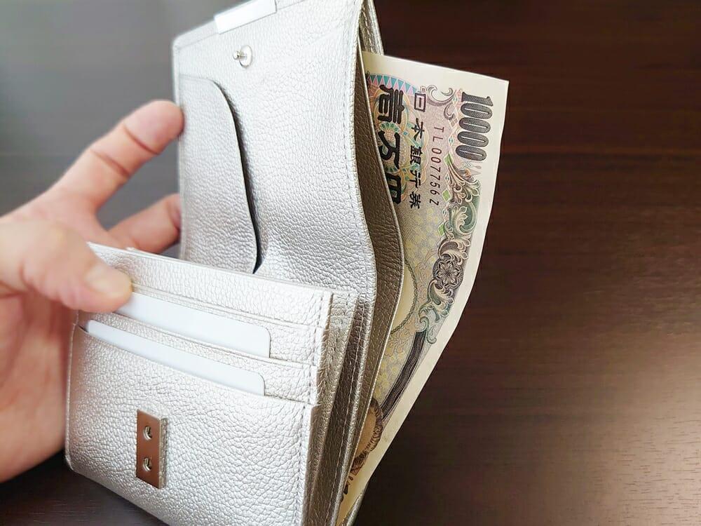 山藤 YAMATOU マルチパーパス サファイアシュリンク SS210500 シーシェルピンク レディース財布 札入れのサイズ感と使い心地6
