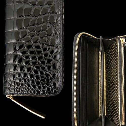 長財布Crocodile Long Wallet W(クロコダイル ロングウォレット)内装ダブルゴールドパイソン 池田工芸