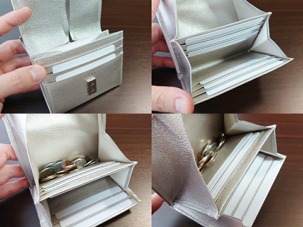 山藤 YAMATOU マルチパーパス サファイアシュリンク SS210500 シーシェルピンク レディース財布 お金とカードを入れた状態